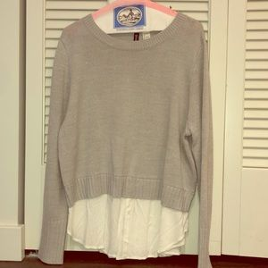 Grey sweater with mock button up